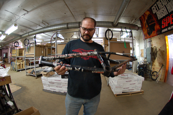 Dave, and the first Metal Bikes Kizz prototype he built years ago..