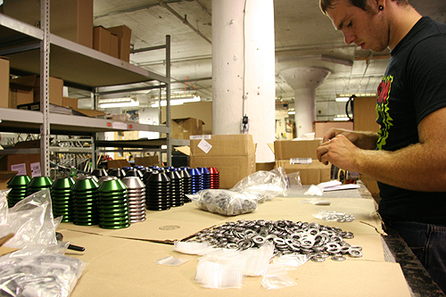 We frequently utilize team riders as free labor, Joel Barnett at the packaging helm.
