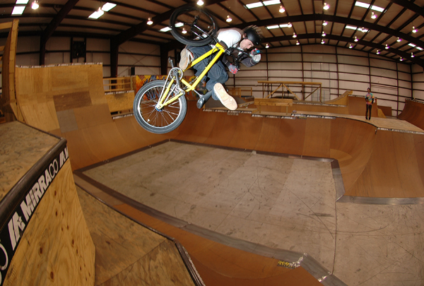 Marcus Tooker and a whacky assed double footloose invert at mirra's ( he landed it)