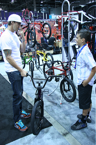 Jamie Bestwick was hanging in our booth when this young man asked him what the best bike was, he proceeded to sell him a purple Marauder. If the TV career doesn't pan out he's got a job as a sales rep at Last Call.
