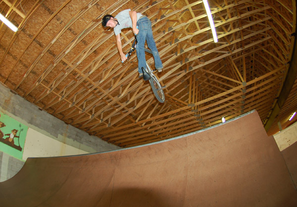 Nate Spiero, riding the mini that used to be in his barn,,,