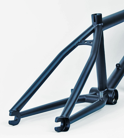 The custom frame with the hooded drops came back from paint, flat black.