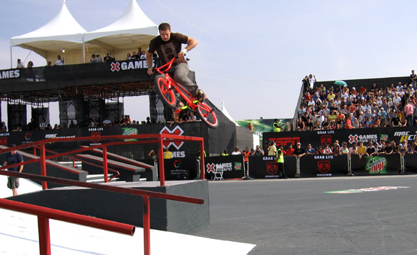 Aaron on his way to second place....-Pic Corrigan (X Games No Helmet!)
