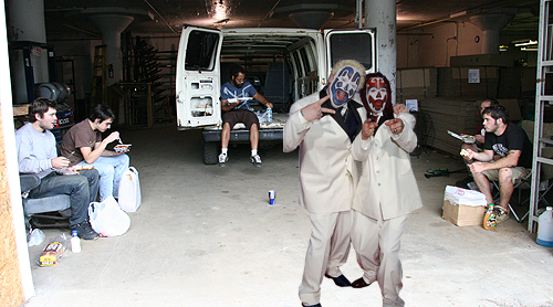 What's worse that listening to Grindcore while you're folding t-shirts? Something you wouldn't wish on your worst enemy, lunch with ICP. We did a pretty good job of ignoring them.