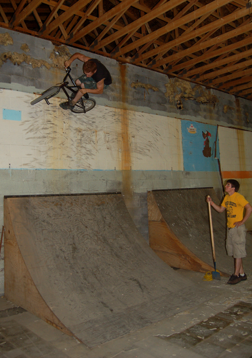 Tyler Smith, at the new Park, getting built near Ithaca...