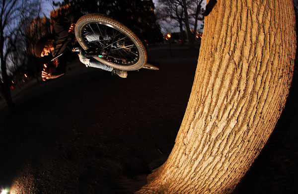 Mickey Marshall, fooling around on a tree ride, Bob pic.