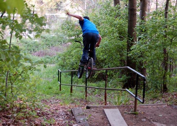 1 hander rail in the woods....