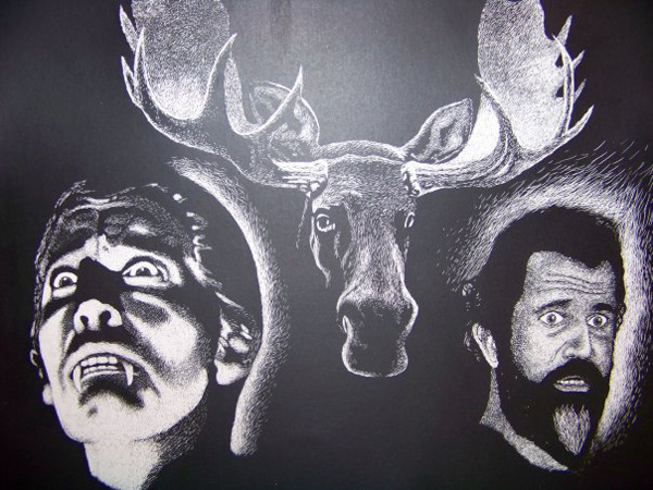Confused/concerned Dracula, a moose, and a stunned mel gibson?