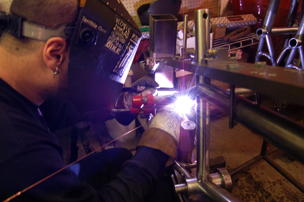 Big Dave Welding up some bikes...
