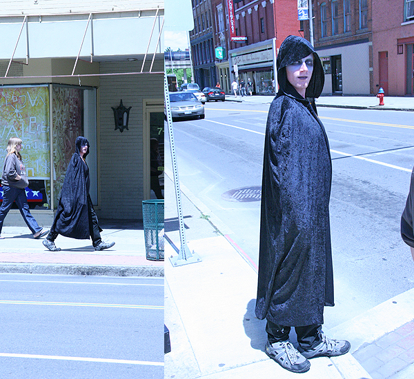 Cloak Boy was out roaming the streets of downtown Binghamton on this fine day.