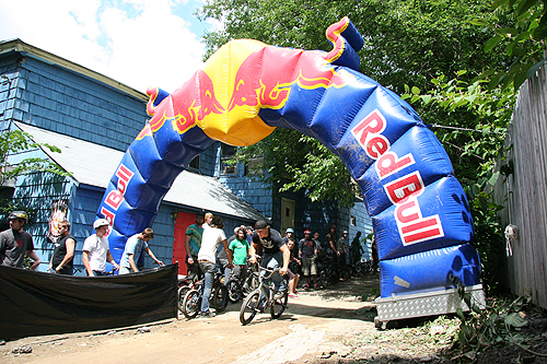 Red Bull bringing some professional signage to the event.