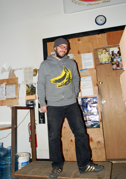 The infamous E-dog, skating the cart, and modelling the Warhol Hoody!