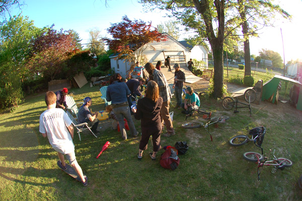 A backyard....