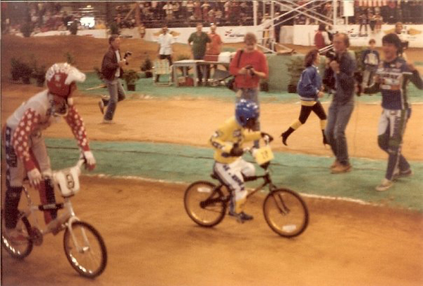 Here's legendary BMX shredder Timmy Judge with what appears to be a monkey in a GT race uniform. Timmy Judge was the first rider photographed doing a one footer and allegedly invented 'da Judge, also known as a lookback these days.