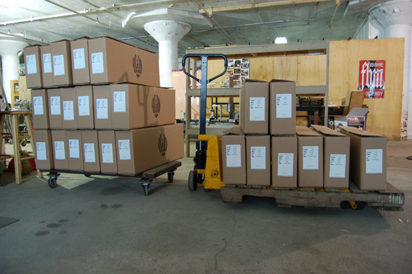 Exodus frames shipping out of the new warehouse.