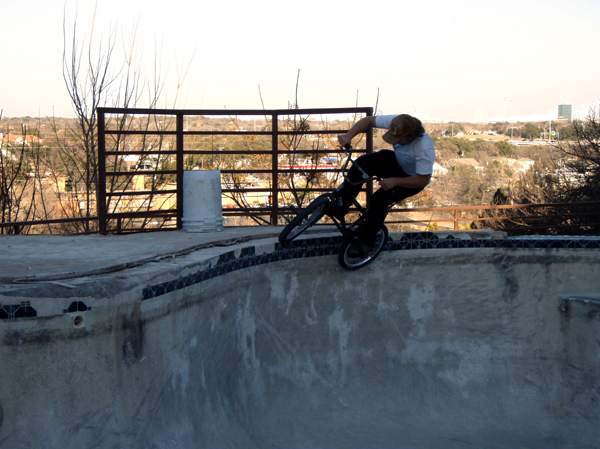 Corrigan riding a pool in TX. courtesy of Santana,Big Rob and friends....