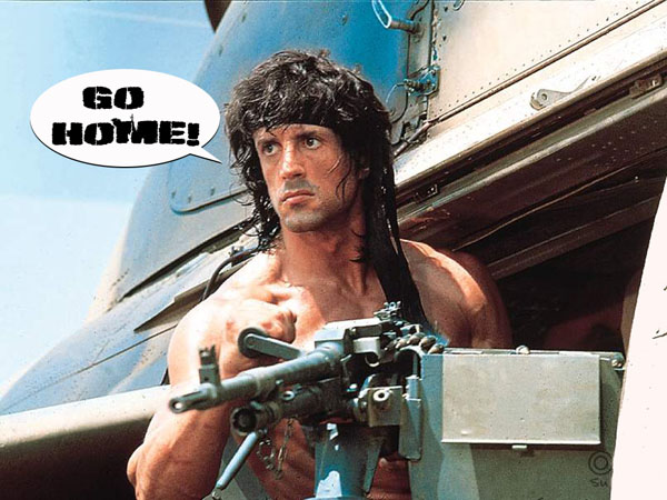Rambo, and his only line in the new movie!