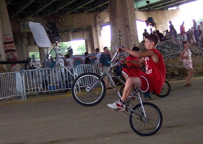 the kid doing the wheelie at the gravity gameswas the leader of a gang of ratty kids busting moves in the parking lot at fdr they were shredders