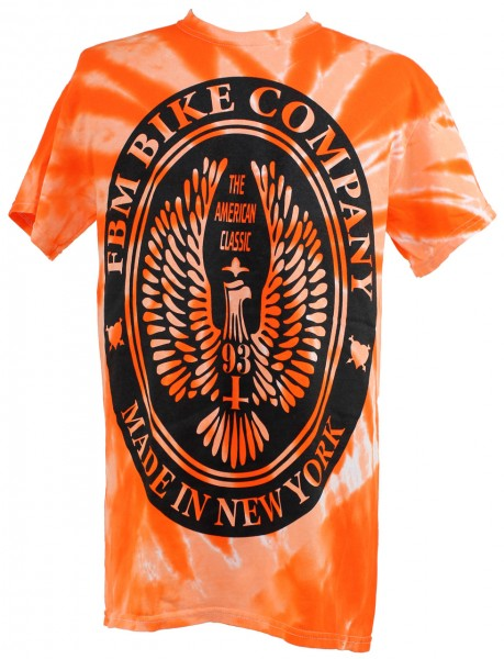 fbm brand t-shirt orange tie-dye