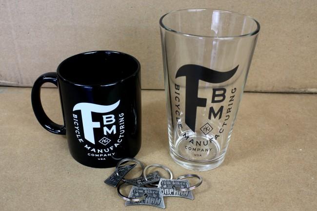 mug pint glass and key chains