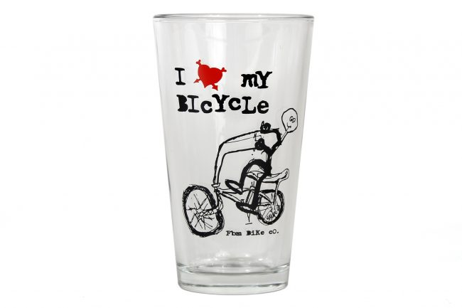 fbm i love my bike pint glass